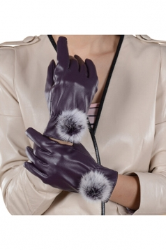 Womens Woolen Warm Leather Winter Gloves Purple