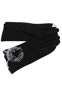 Womens Fur Ball Decor Plain Warm Velvet Gloves Black