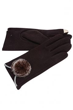 Womens Fur Ball Decor Plain Warm Velvet Gloves Brown