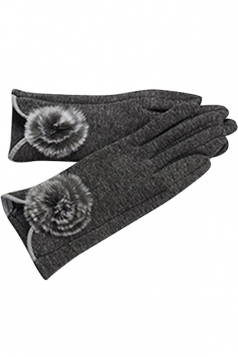 Womens Fur Ball Decor Plain Warm Velvet Gloves Gray