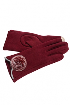 Womens Fur Ball Decor Plain Warm Velvet Gloves Red