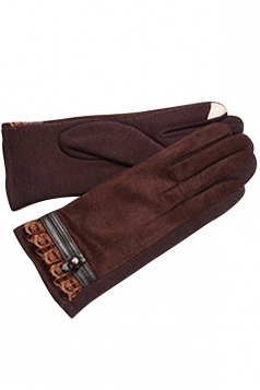 Womens Faux Suede Lace Trim Lined Winter Gloves Brown