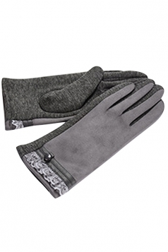 Womens Faux Suede Lace Trim Lined Winter Gloves Gray