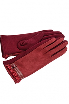Womens Faux Suede Lace Trim Lined Winter Gloves Red
