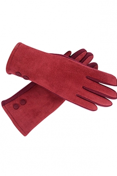 Womens Faux Suede Two-button Decor Winter Gloves Red