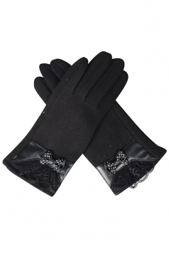 Womens Cashmere Lace Bow Decor Winter Warm Gloves Black