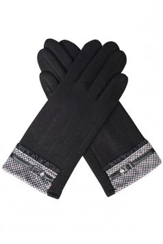 Womens Cashmere Houndstooth Winter Warm Gloves Black
