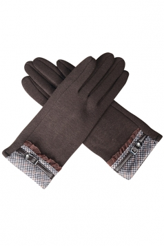 Womens Cashmere Houndstooth Winter Warm Gloves Coffee