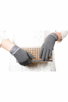 Womens Cashmere Houndstooth Winter Warm Gloves Gray