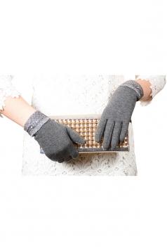 Womens Cashmere Houndstooth Winter Warm Gloves Gray