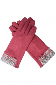 Womens Cashmere Houndstooth Winter Warm Gloves Red