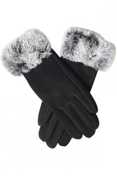 Womens Faux Fur Winter Warm Cashmere Gloves Black