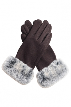 Womens Faux Fur Winter Warm Cashmere Gloves Coffee
