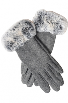 Womens Faux Fur Winter Warm Cashmere Gloves Gray