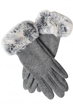 Womens Faux Fur Winter Warm Cashmere Gloves Gray