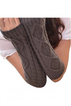 Womens Knitted Below Elbow Mitten Gloves Dark Gray