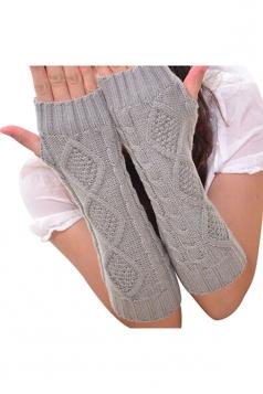 Womens Knitted Below Elbow Mitten Gloves Light Gray