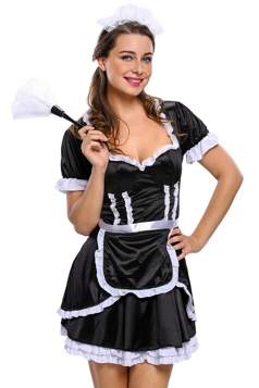 Womens Sexy Ruffled Flirty Mistress Halloween Maid Costume Black