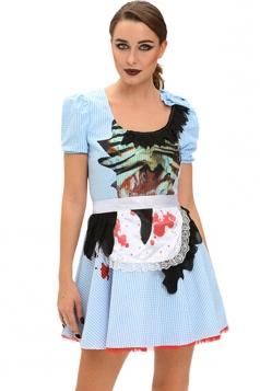 Womens Printed Zombie Halloween Maid Costume Blue