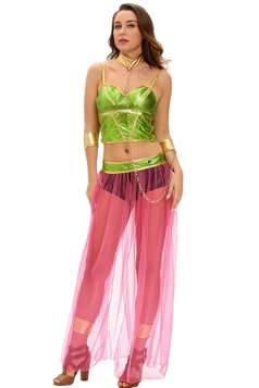 Womens Bandeau Crop Top Dancing Halloween Costume Green