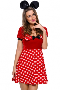 Womens Polka Dot Bow Minnie Mouse Halloween Costume Red