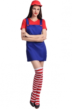 Womens Super Mario Halloween Cartoon Costume Blue