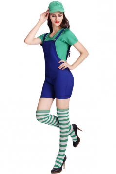 Womens Super Mario Halloween Cartoon Costume Green