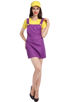 Womens Super Mario Halloween Cartoon Costume Purple