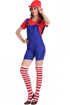 Womens Super Mario Halloween Cartoon Costume Red