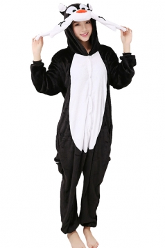 Womens Dog One-piece Hooded Costume Pajamas Black