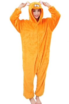 Womens Cute Cartoon One-piece Hooded Costume Pajamas Orange