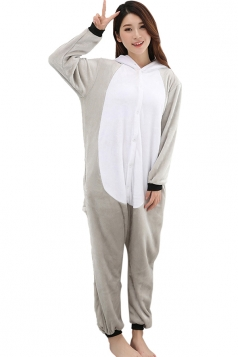 Womens Lemur One-piece Hooded Costume Pajamas Gray
