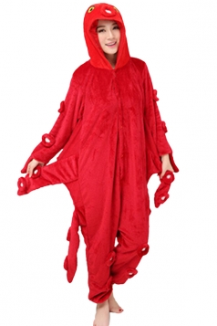 Womens Octopus One-piece Hooded Costume Pajamas Red