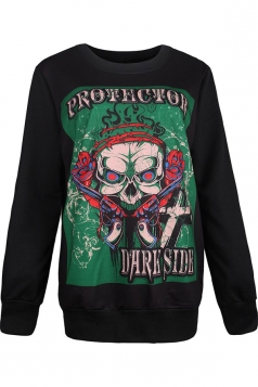 Womens Crewneck Pullover Skull Printed Halloween Sweatshirt Army Green