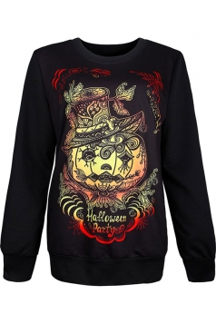 Womens Crewneck Zombie Pumpkin Printed Halloween Sweatshirt Brown