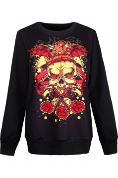Womens Crewneck Floral Skull Printed Halloween Sweatshirt Dark Red
