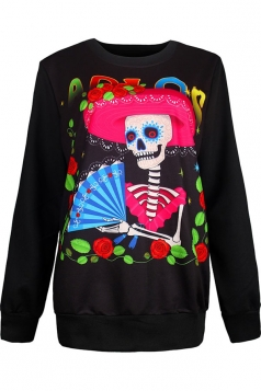 Womens Crewneck Floral Skull Printed Halloween Sweatshirt Rose Red