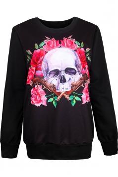 Womens Crewneck Floral Skull Print Pullover Halloween Sweatshirt Pink