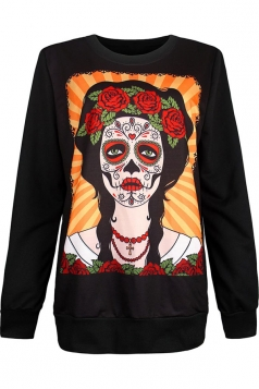 Womens Crewneck Rose Girl Printed Pullover Halloween Sweatshirt Yellow