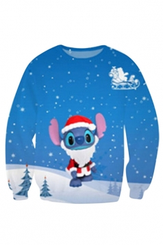 Womens Christmas Stitch Printed Pullover Sweatshirt Blue