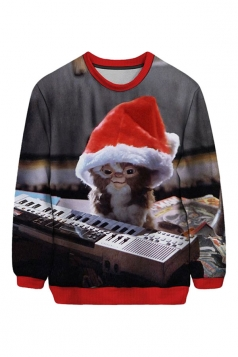 Womens Christmas Toy Printed Pullover Sweatshirt Gray