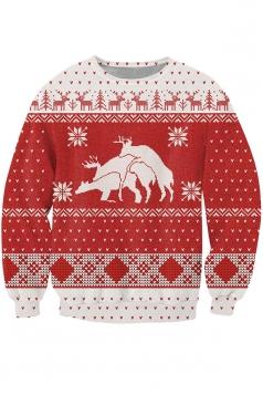 Womens Christmas Reindeer Printed Pullover Sweatshirt White
