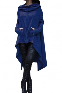 Womens Long Sleeve Asymmetric Hem Drawstring Hoodie Blue