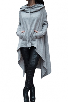 Womens Long Sleeve Asymmetric Hem Drawstring Hoodie Gray