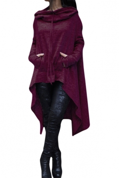 Womens Long Sleeve Asymmetric Hem Drawstring Hoodie Purple