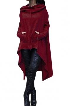 Womens Long Sleeve Asymmetric Hem Drawstring Hoodie Red