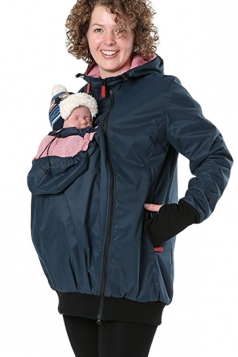Womens Long Sleeve Baby Carrier Hooded Trench Coat Blue
