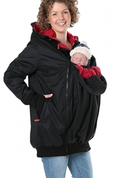 Womens Long Sleeve Baby Carrier Hooded Trench Coat Black