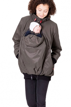 Womens Long Sleeve Baby Carrier Hooded Trench Coat Brown