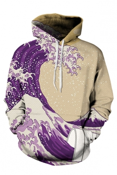 Womens Long Sleeve Sea Printed Pullover Hoodie Purple